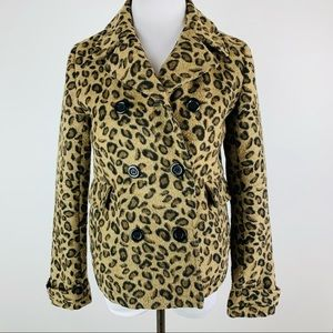 UO Pins & Needles Double Breasted Cheetah Coat XS
